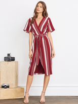 Lovers + Friends Lovers & Friends Fremont Wrap Dress in Cranberry Stripe
