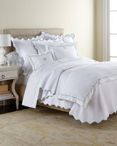 Matouk King Scallops Embroidered Percale Duvet Cover