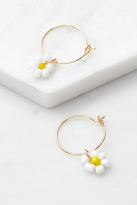 Urban Outfitters Floral Bead Drop Earrings - White ALL at