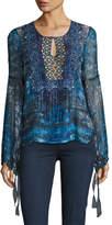 Elie Tahari Avan Long-Sleeve Lace-Trim Chiffon Blouse, Blue