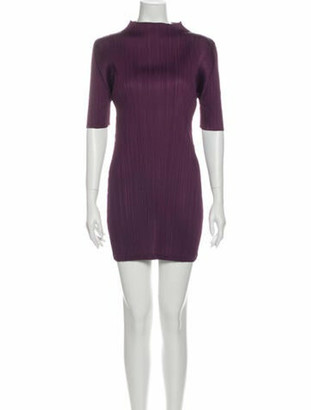 Pleats Please Issey Miyake Mock Neck Mini Dress Purple