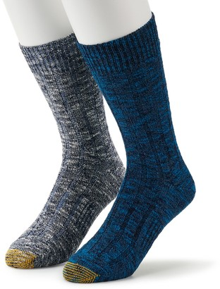 Gold Toe Men's GOLDTOE 2-pack Lodge Collection Slubbed Mix Crew Socks