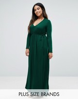 Club L Plus Essentials Maxi Dress With Long Sleeves