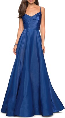 La Femme Pleat Surplice Bodice Satin Ballgown