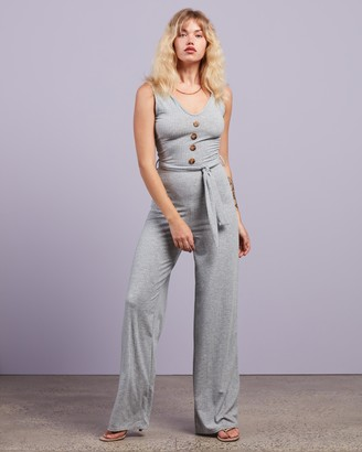 Missguided Women's Grey Jumpsuits - Horn Button Ribbed Tie Belt Jumpsuit - Size 6 at The Iconic