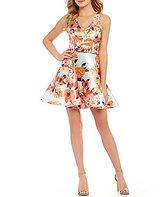 Jodi Kristopher Floral-Print Deep V-Neck Open-Back Skater Dress