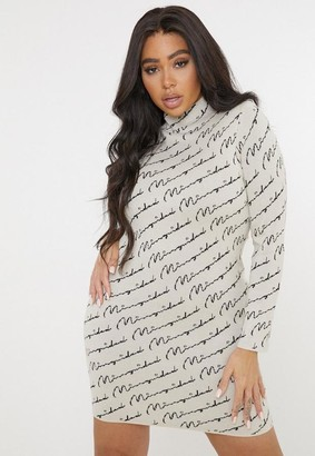 Missguided Plus Size Stone Knit Mini Dress