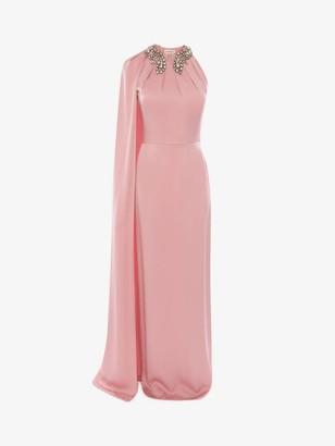 Alexander McQueen Cape Sleeve Evening Dress