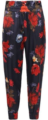 Mother of Pearl Floral-print Satin Tapered Pants