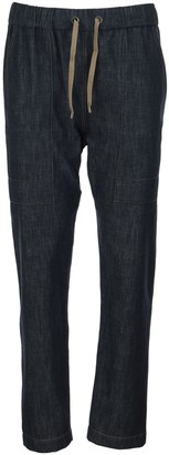 Brunello Cucinelli Dark Polished Denim Track Trousers With Shiny Stitch