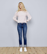 LOFT Modern Frayed Cuff Straight Leg Jeans in Pure Dark Indigo Wash