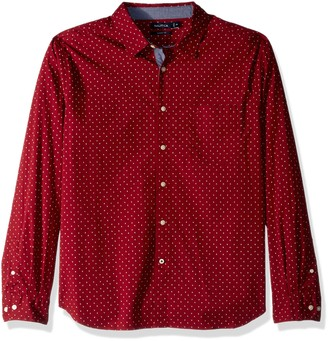 Nautica Men's Classic Fit Stretch Printed Long Sleeve Button Down Shirt