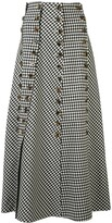 A.W.A.K.E. Mode Gingham Print Midi Skirt