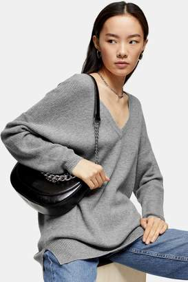 Topshop Womens Grey V Neck Knitted Sweater With Jumper - Grey Marl