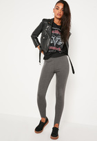 Missguided Grey Ribbed Stirrup Leggings