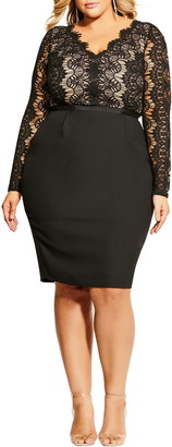 City Chic Hourglass Beauty Long Sleeve Cocktail Dress