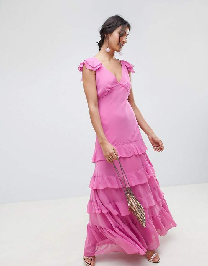 Asos Design DESIGN tiered ruffle maxi dress