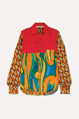 Marni Cotton-poplin And Printed Silk-twill Shirt - Red