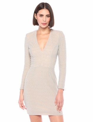 Dress the Population Women's Riley Long Sleeve Plunging Short Cocktail Dress
