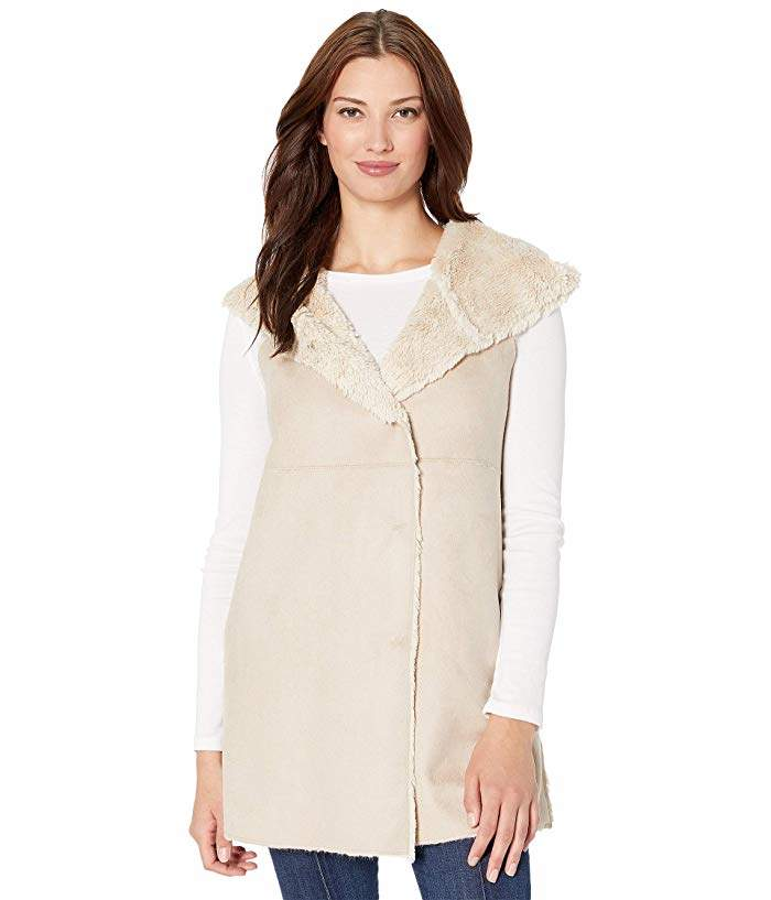 464e51b09 Dylan by Madison City Faux Sueded Shearling Vest with Hood