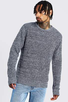 boohoo Crew Neck Ribbed Jumper with Twisted Knit