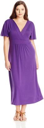 Star Vixen Women's Plus-Size Flutter Sleeve Surplice Maxi Dress