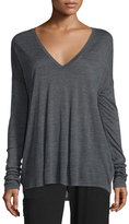 Vince Long-Sleeve Wide V-Neck T-Shirt