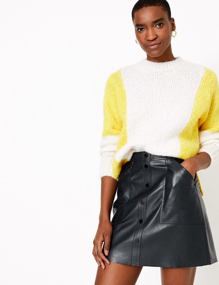 Marks and Spencer Leather Button Front Mini A-Line Skirt