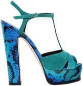 Sergio Rossi 150mm Edwige Elaphe & Suede Sandals