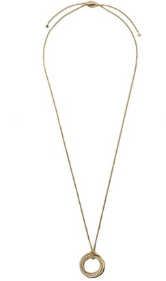 David Yurman 18kt yellow gold Crossover diamond pendant necklace