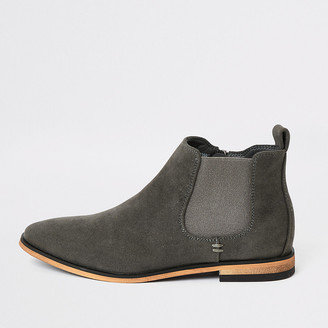 River Island Boys grey smart Chelsea boots