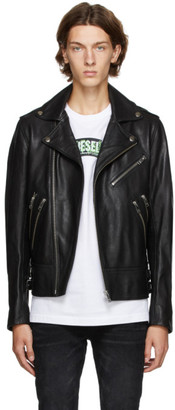 Diesel Black Leather Garrett Jacket