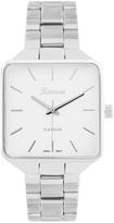 Geneva Platinum Silver Square-Case Three-Row Bracelet Watch