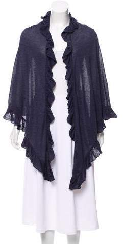 Minnie Rose Ruffle-Trimmed Knit Scarf