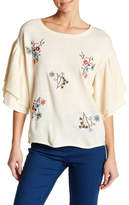 Flying Tomato Double Tiered Ruffle Floral Sweater