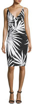 Milly Liz Sleeveless Palm-Print Sheath Dress, Black