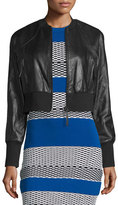 KENDALL + KYLIE Cropped Leather Bomber Jacket