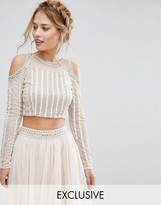 Lace and Beads Lace & Beads Cold Shoulder Embellished Crop Top Co Ord