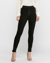 Express Super High Waisted Hyper Stretch Black Button Fly Jean Ankle Leggings