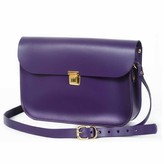 N'damus London Plum Leather 11 Inches Mini Satchel
