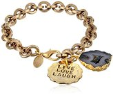 "Alisa Michelle Hand Stamped ""Live Love Laugh"" Coin and Electroformed Geod Bracelet, 7"""