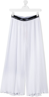 Miss Blumarine Logo Waistband Pleated Trousers
