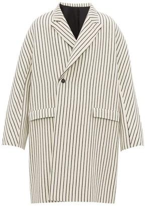 Haider Ackermann Peak-lapel Jacquard-striped Wool Coat - Mens - White Black