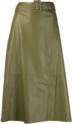 Arma A-line leather midi skirt