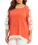 Multiples Plus Accent Lace & Fringe Details Solid Crinkle Top