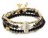 Good Charma Set Of 3 Marbled Agate, Matte Black Onyx, & Pyrite Stretch Bracelets