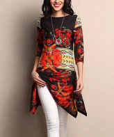 Black & Red Floral Sidetail Tunic