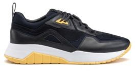 HUGO Running-style trainers in nappa leather with mesh details