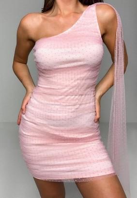 Missguided Blush Dobby Mesh Drape One Shoulder Mini Dress