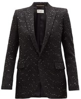 Saint Laurent Single-breasted Sequinned Boucle Blazer - Womens - Black Silver